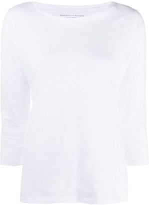Majestic Filatures crop-sleeve cotton T-shirt