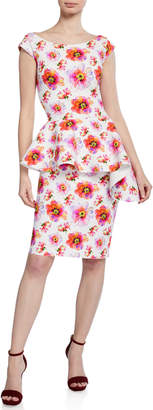 Chiara Boni Etheline Floral-Print Boat-Neck Cap-Sleeve Peplum Dress