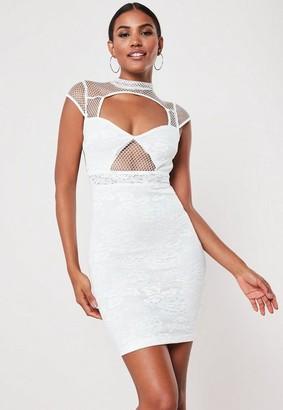 Missguided White Lace Fishnet Bodycon Mini Dress