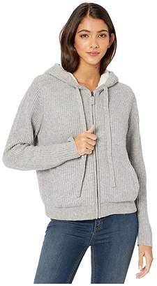 Splendid Cashblend Zip-Up Hoodie with Sherpa Lining (Light Grey Heather) Women's Clothing