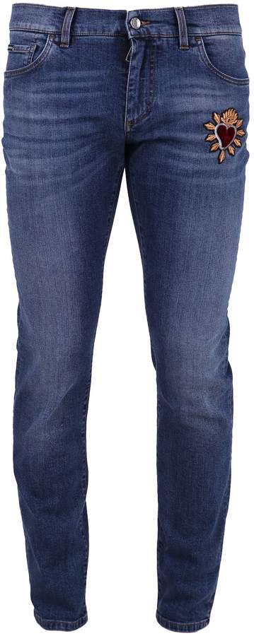 Dolce & Gabbana Blue Jeans With Patch Detail