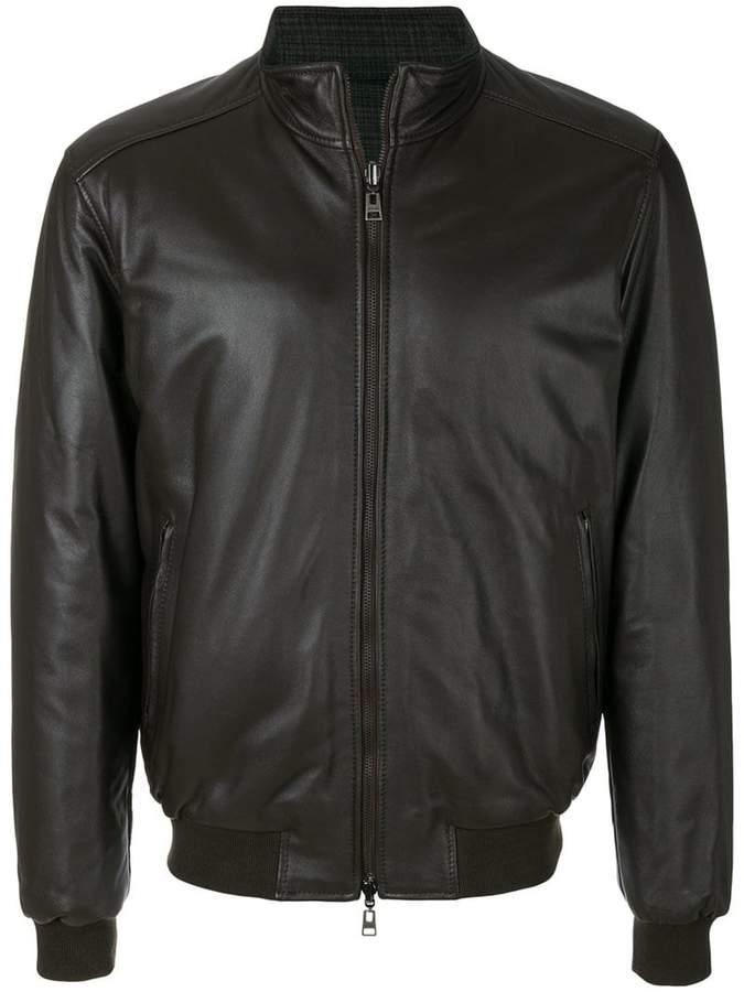 Etro zipped leather jacket