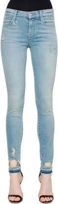 J Brand Mid Rise Destroyed Skinny Denim Jeans