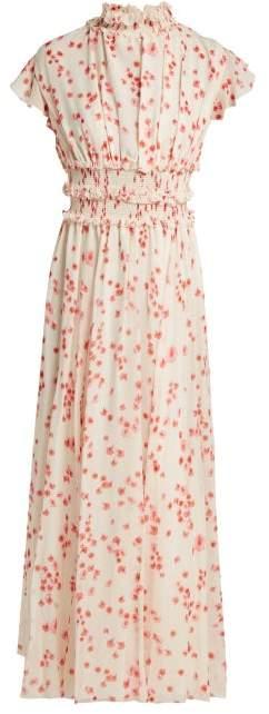 Giambattista Valli Petal Print Ruffled Silk Chiffon Dress - Womens - White Multi