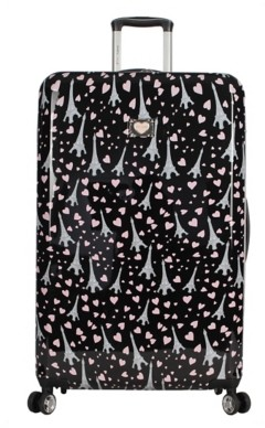 Betsey Johnson Luggage Paris Love 30-Inch Checked Hard Shell Carry-On