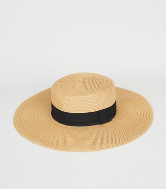New Look Straw Effect Floppy Hat