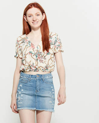Love Tree Floral Chain Surplice Crop Top