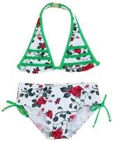 XUNYU Girls Two Piece Tankinis Swimwear Swimsuit Leopard Floral Bikini Set