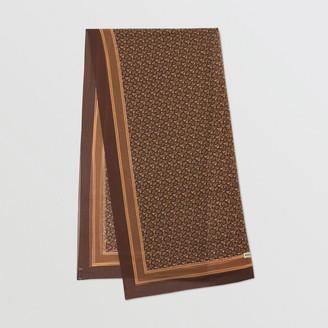 Burberry Monogram Print Silk Chiffon Scarf