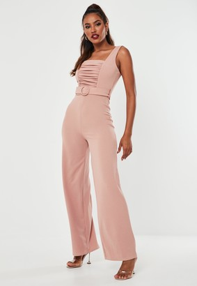 Missguided Rose Pink Ruched Front Wide Leg Jumpsuit