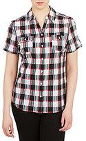 Allison Daley Petites Plaid Button-Front Shirt
