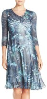 Komarov Petite Women's Mixed Media Midi Dress