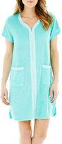 Asstd National Brand Coeur d' Alene Short-Sleeve Zip-Front Robe