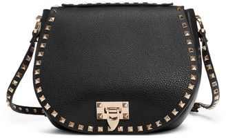 Valentino Garavani Small Rockstud Leather Saddle Bag