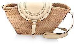Chloé Marcie Small Leather & Raffia Crossbody
