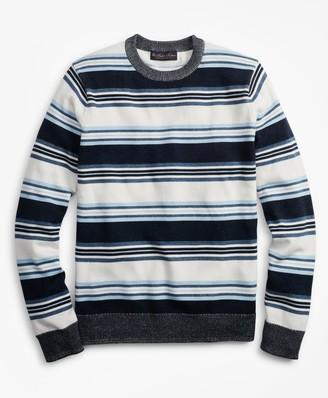 Brooks Brothers Supima Cotton Stripe Crewneck Sweater