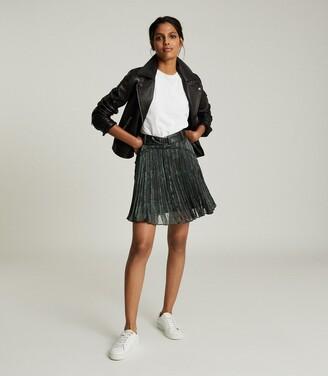Reiss Orielle - Snake-print Mini Skirt in Black Print