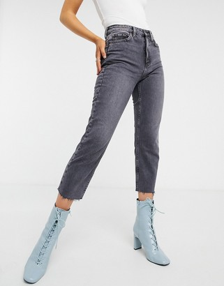 Topshop straight leg jeans in smoke grey