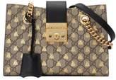Gucci Padlock small GG bees shoulder bag