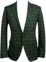 Choies Men's Olive Checker Slim Blazer With One-button