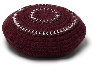Ganni Crocheted Cotton-blend Beret - Burgundy