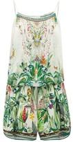 Camilla Daintree Darling Rainforest-print Playsuit - Womens - White Print