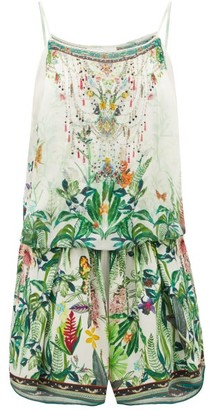 Camilla Daintree Darling Rainforest-print Playsuit - Womens - White Print