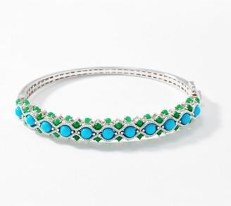 Sleeping Beauty Turquoise & Jade Hinged Bangle, Sterling Silver