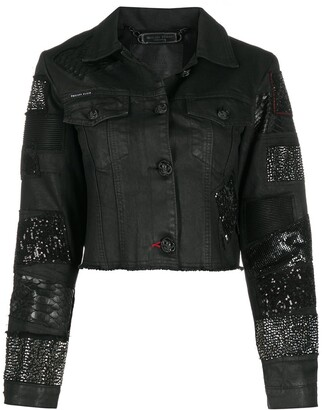 Philipp Plein Cropped Embellished Denim Jacket