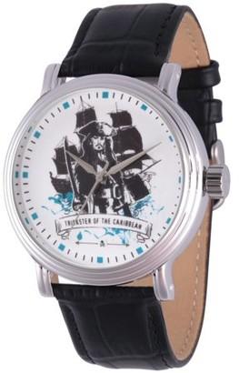 Disney Pirates of the Caribbean 5 Captain Jack Sparrow Men's Silver Vintage Alloy Watch, Black Leather Strap