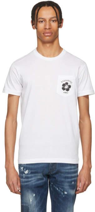 DSQUARED2 White Hawaii Flower Pocket Chic Dan T-Shirt
