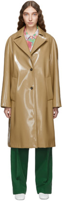 Plan C Beige Patent Single-Breasted Coat