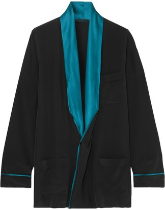 Haider Ackermann Satin-trimmed Silk-satin Blouse