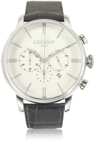 Locman 1960 Stainless Steel Men's Chronograph Watch w/Brown Croco Embossed Leather Strap