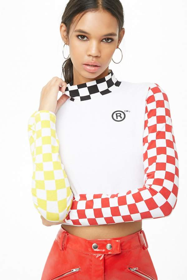 Forever 21 Checkered Mock Neck Graphic Top