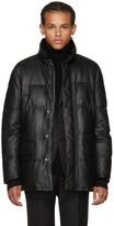 Brioni Black Leather Puffer Jacket
