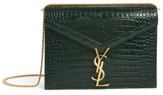Saint Laurent Embossed Leather Cassandra Chain Wallet