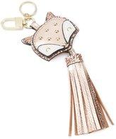 Kate Landry Metallic Tasseled Studded Fox Key Fob