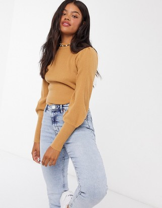 Brave Soul riggs ribbed turtleneck sweater with balloon sleeve