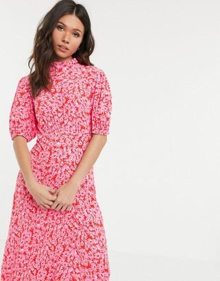 Ghost luella floral print short sleeve midi dress-Pink