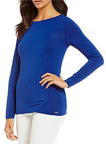 Calvin Klein Liquid Jersey Long Sleeve Boat Neck Tee