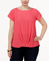 INC International Concepts Plus Size Twist-Front Top, Only at Macy's