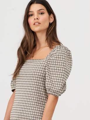 Very Check Volume Sleeve Mini Dress - Multi