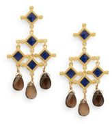 Stephanie Kantis London Blue Crystal & Smoky Topaz Briolette Venetian Chandelier Earrings