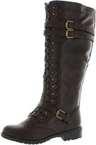 Wild Diva Women's Fashion Timberly-65 Military Knee High Combat Boots Shoes Wet Pu 10
