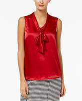 Kasper Charmeuse Tie-Neck Top