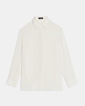 Theory Menswear Shirt in Silk Georgette
