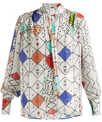 CHUFY Soufiane Tie-neck Blouse - White Multi