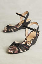 Vicenza Black Cross Strap Wedge Sandals