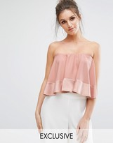 Missguided Contrast Ruffle Satin Bandeau Top